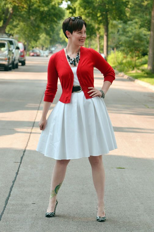 Already Pretty outfit featuring red cropped cardigan, white Calvin ...