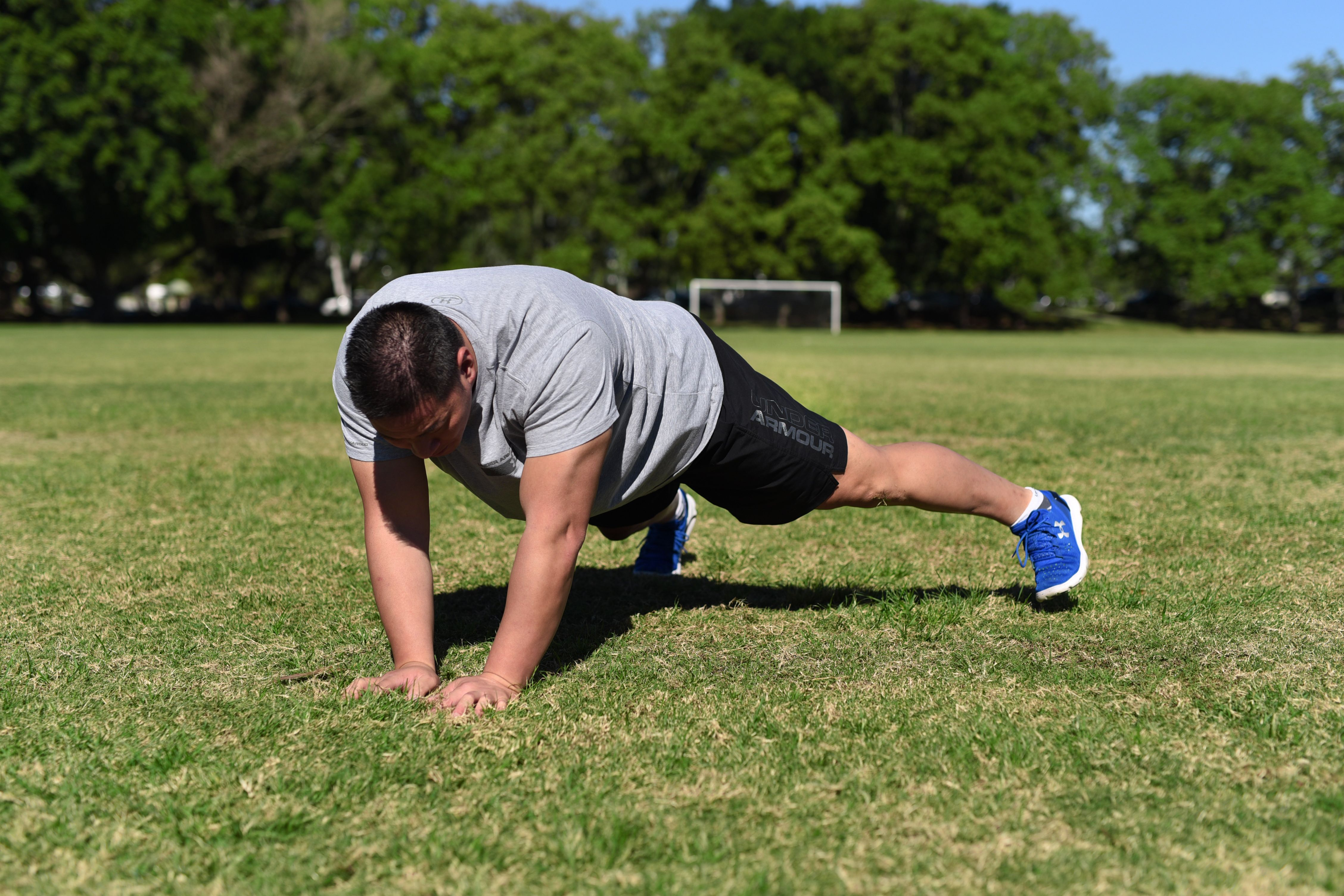 Walking Push Up. Step Three: Push back up from the ground, move one hand and foot to in one direction followed by the other hand and foot.