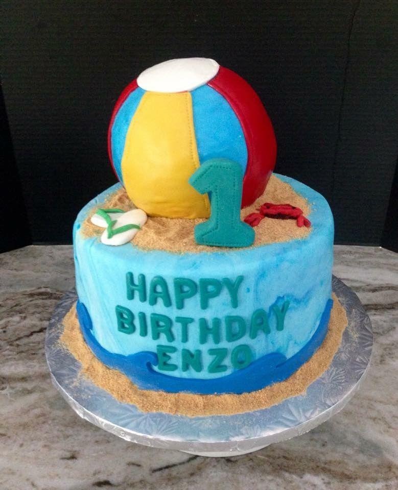 Pleasing 1St Birthday Beach Ball Cake S M Facebook Com Birthday Cards Printable Benkemecafe Filternl