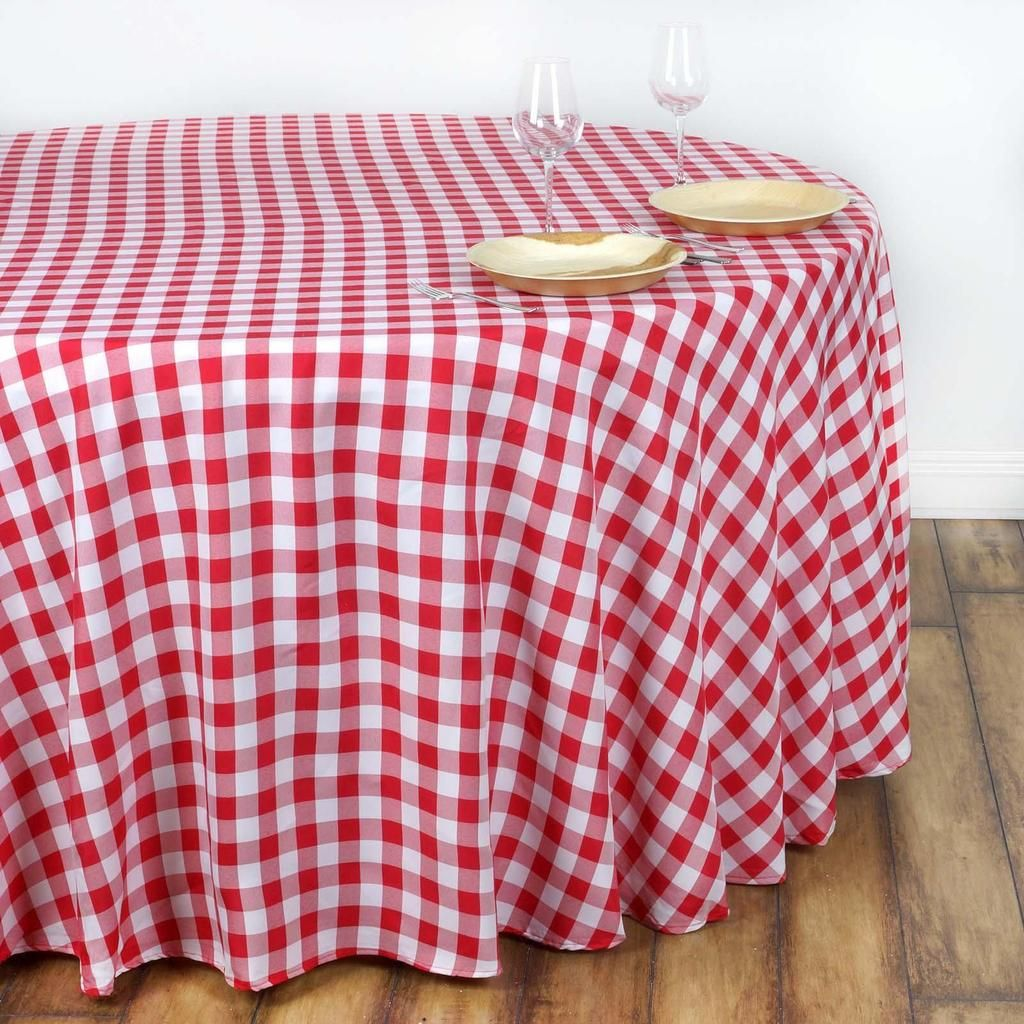 Buffalo Plaid Tablecloth 108 Round White Red Checkered