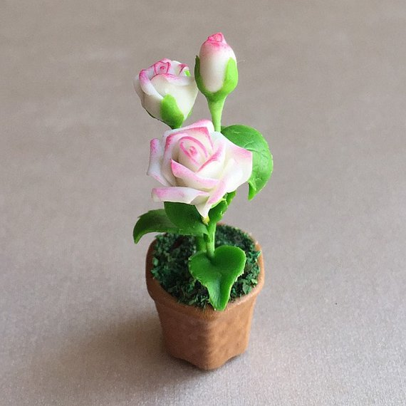 Polymer Roses Polymer Clay Leaves Fairy Miniature Garden 1:12 Dollhouse Garden