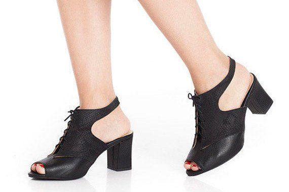 Black mid heel chunky pumps women shoes vegan sandals