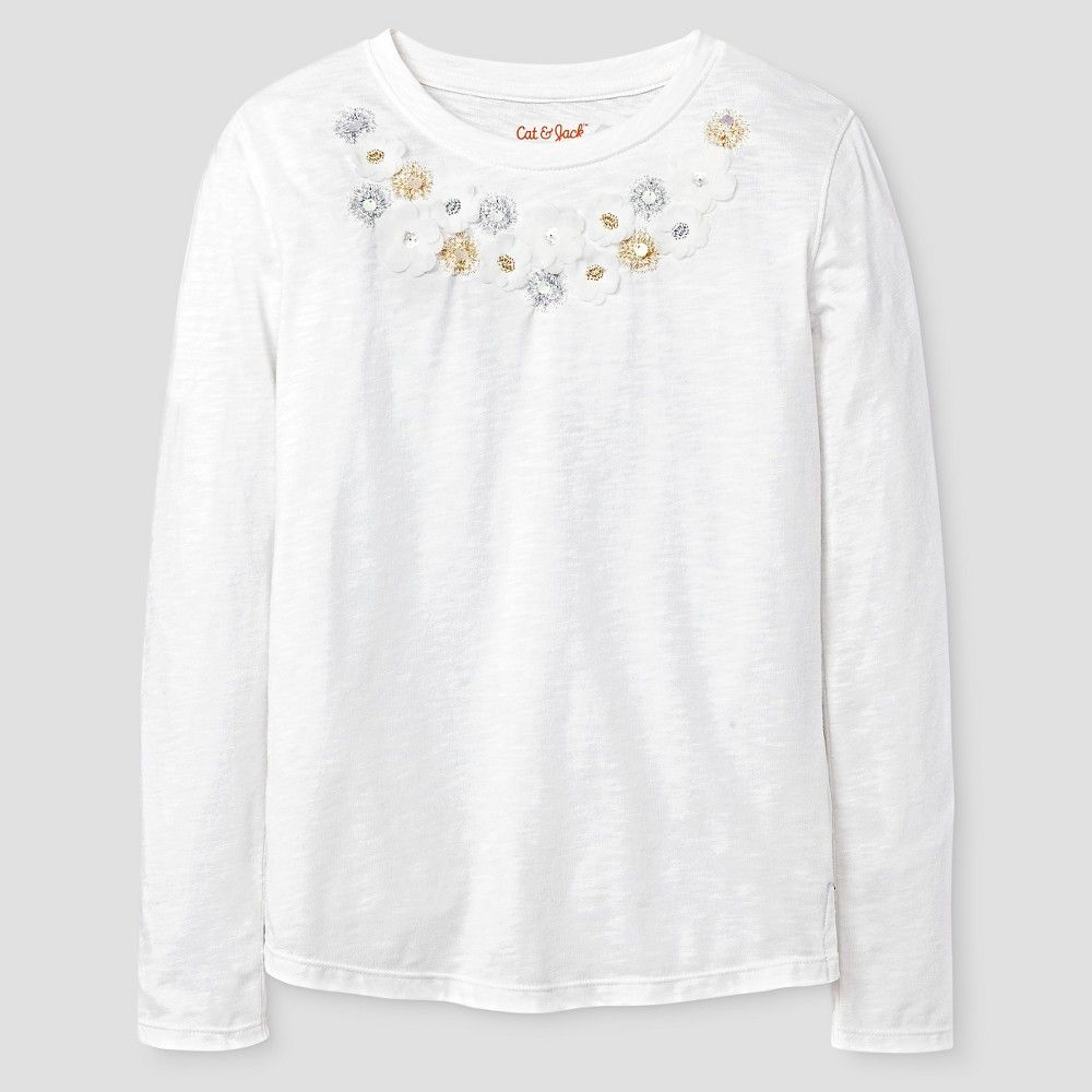 831c0a68a41d Girls  Long Sleeve Embellishment Graphic Tee Shirt Cat   Jack ...