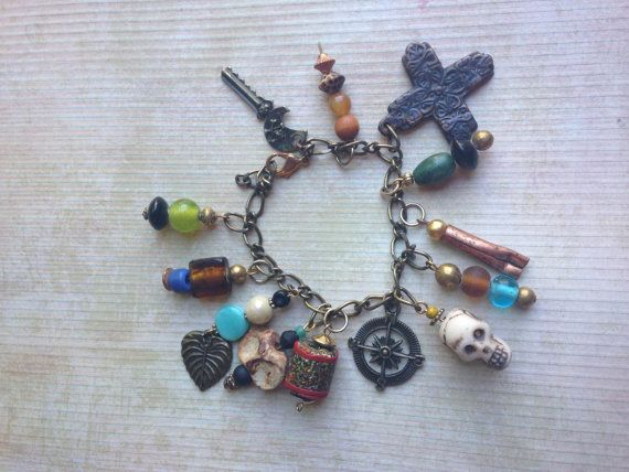 Pirate Themed Art Charm Bracelet Adjustable by creativecaravan, $40.00