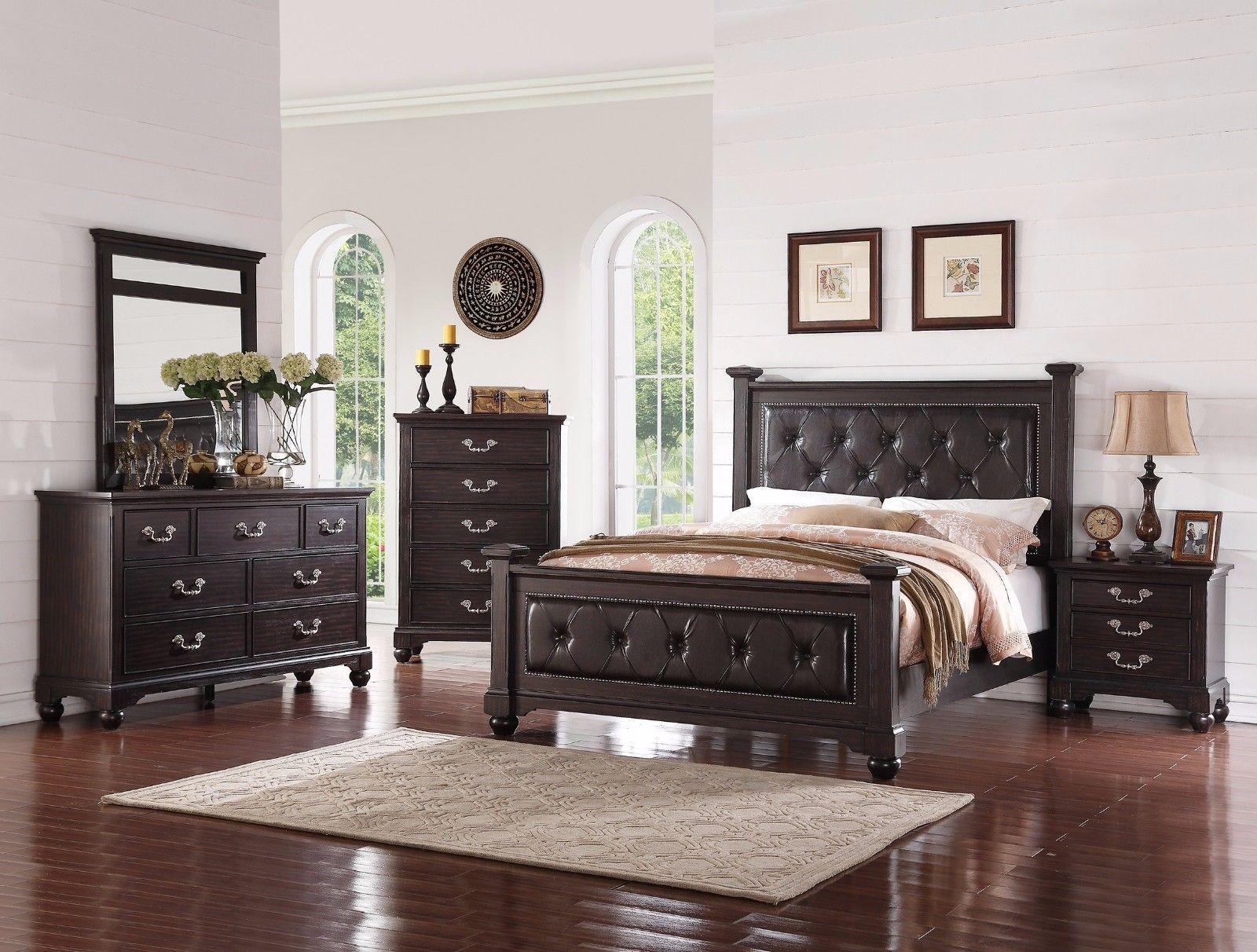 master bedroom furnitur 4pc est king bed set tufted faux leather