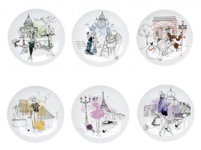 coffret assiettes parisienne chez la chaise longue 30 wish list pinterest id e cadeau. Black Bedroom Furniture Sets. Home Design Ideas
