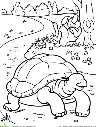 Color the Tortoise and the Hare   COLOREAR   Pinterest   Cuentos ...