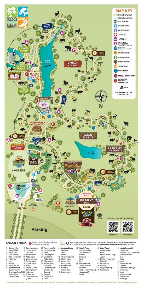 Map Of Miami Florida.Zoo Map Zoo Miami Miami Fl Zoo Map Miami Florida Travel