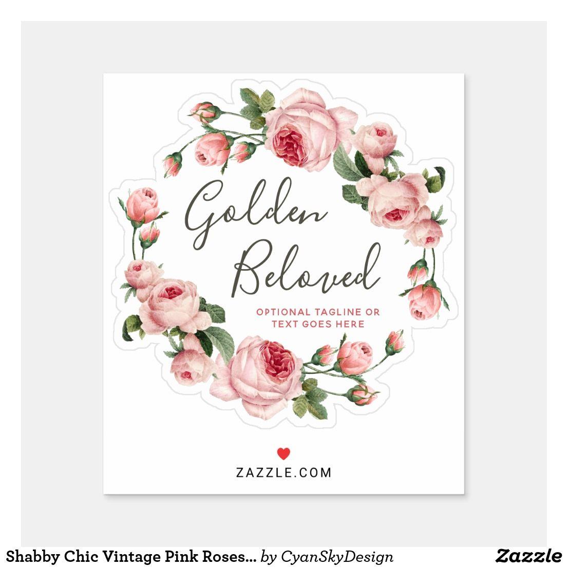 Shabby Chic Vintage Pink Roses Circle Logo Name Sticker Zazzle Com Vintage Pink Vintage Chic Shabby Chic Logo