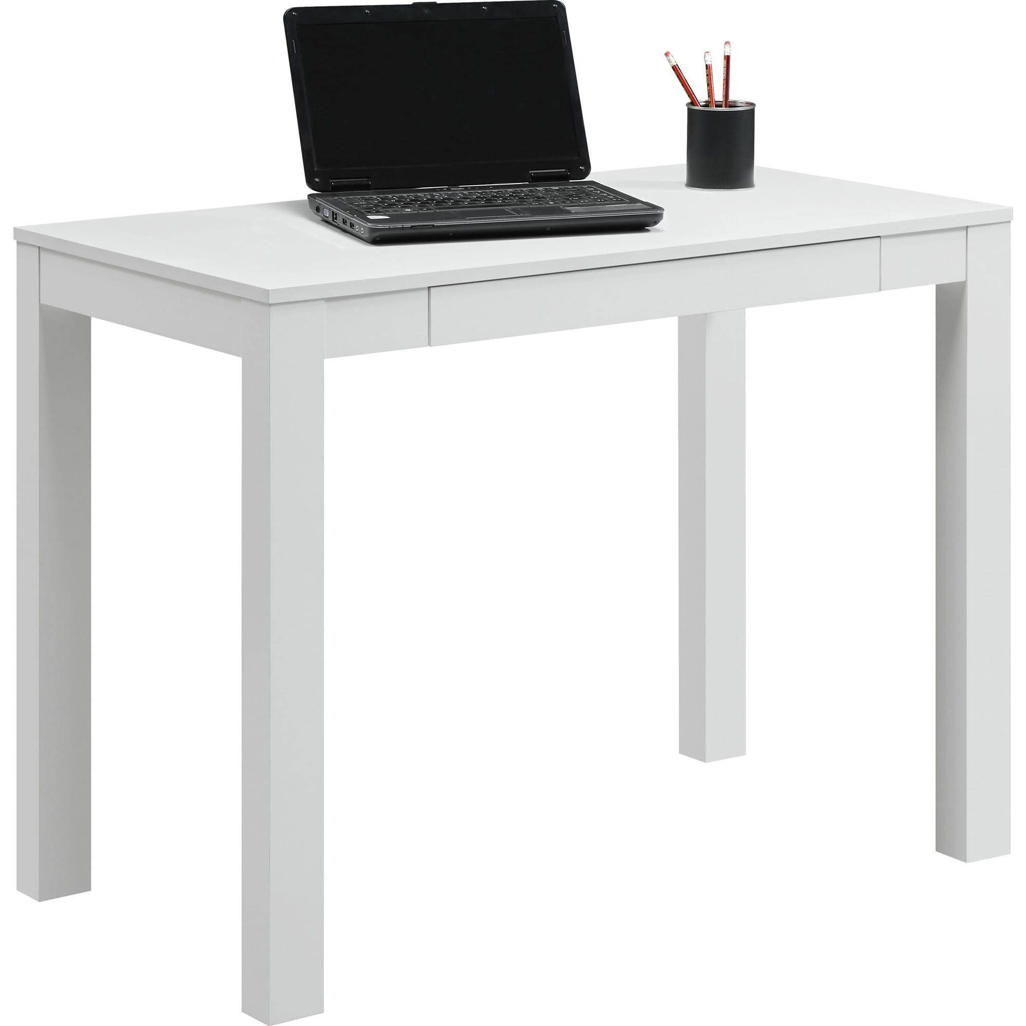 Ameriwood Home Parsons Computer Desk With Drawer White Walmart Com Parsons Desk Writing Desk With Drawers White Computer Desk