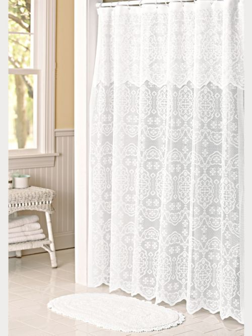 Lace Shower Curtain Liner And Bath Rug Set Lace Shower Curtains