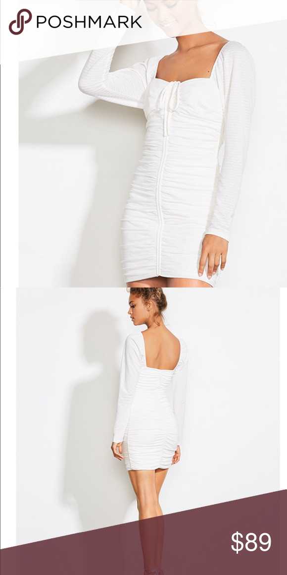 9d7315c443bd SNAPDRAGON WHITE RUCHED LONG SLEEVE BODYCON DRESS You will be a vision in  white when you