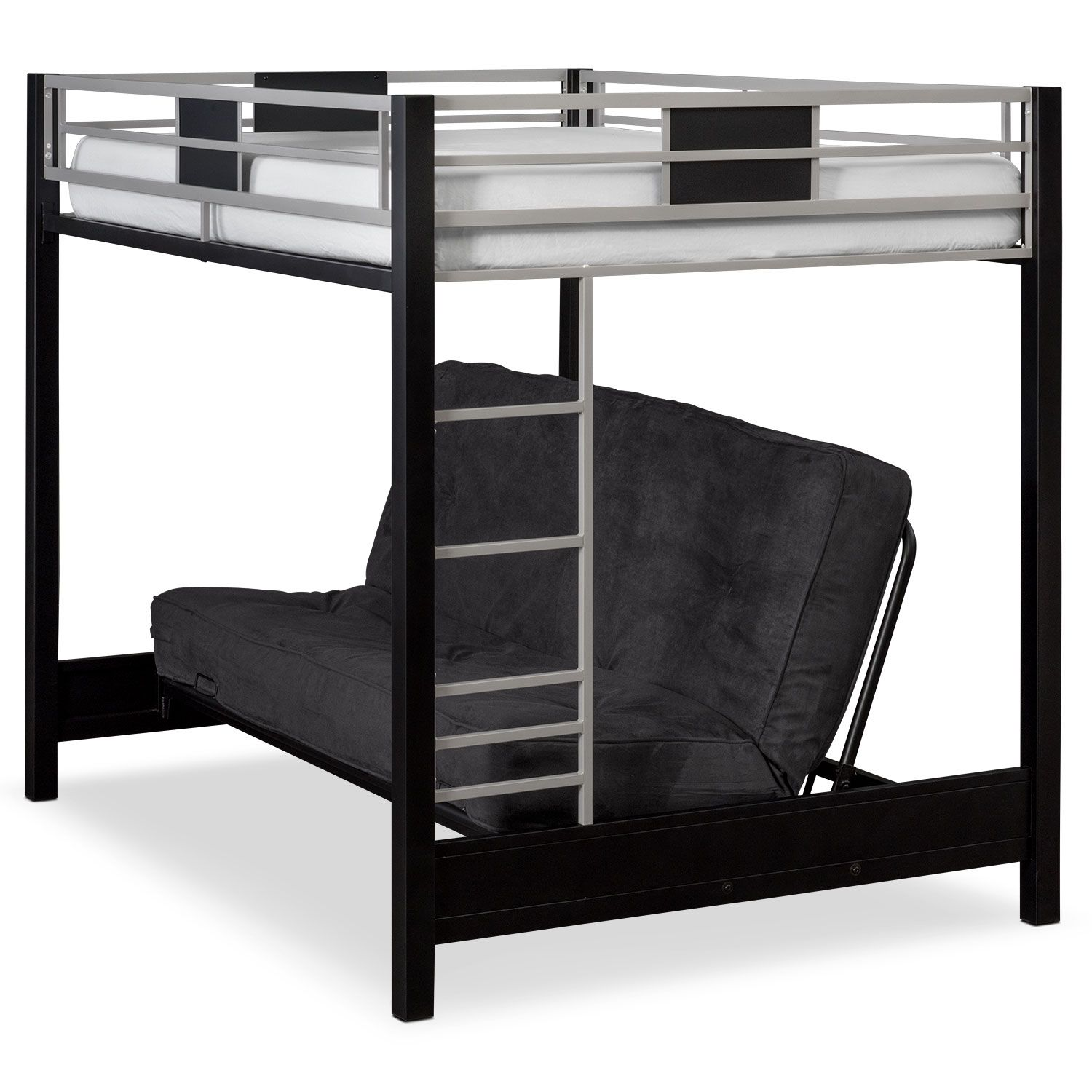 Industrial Showpiece The Samba Full Over Full Bunk Bed With Futon