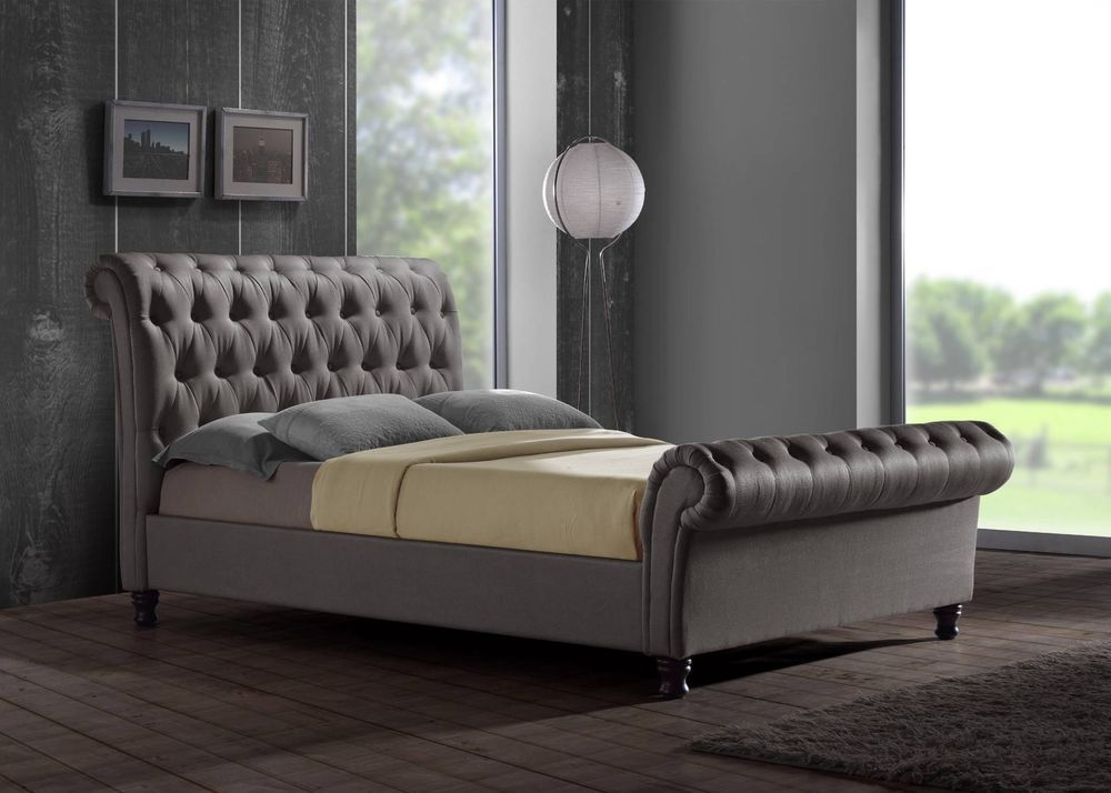 Castello Chesterfield Upholstered Sleigh Grey Fabric 4ft6 135cm Double Bed Frame