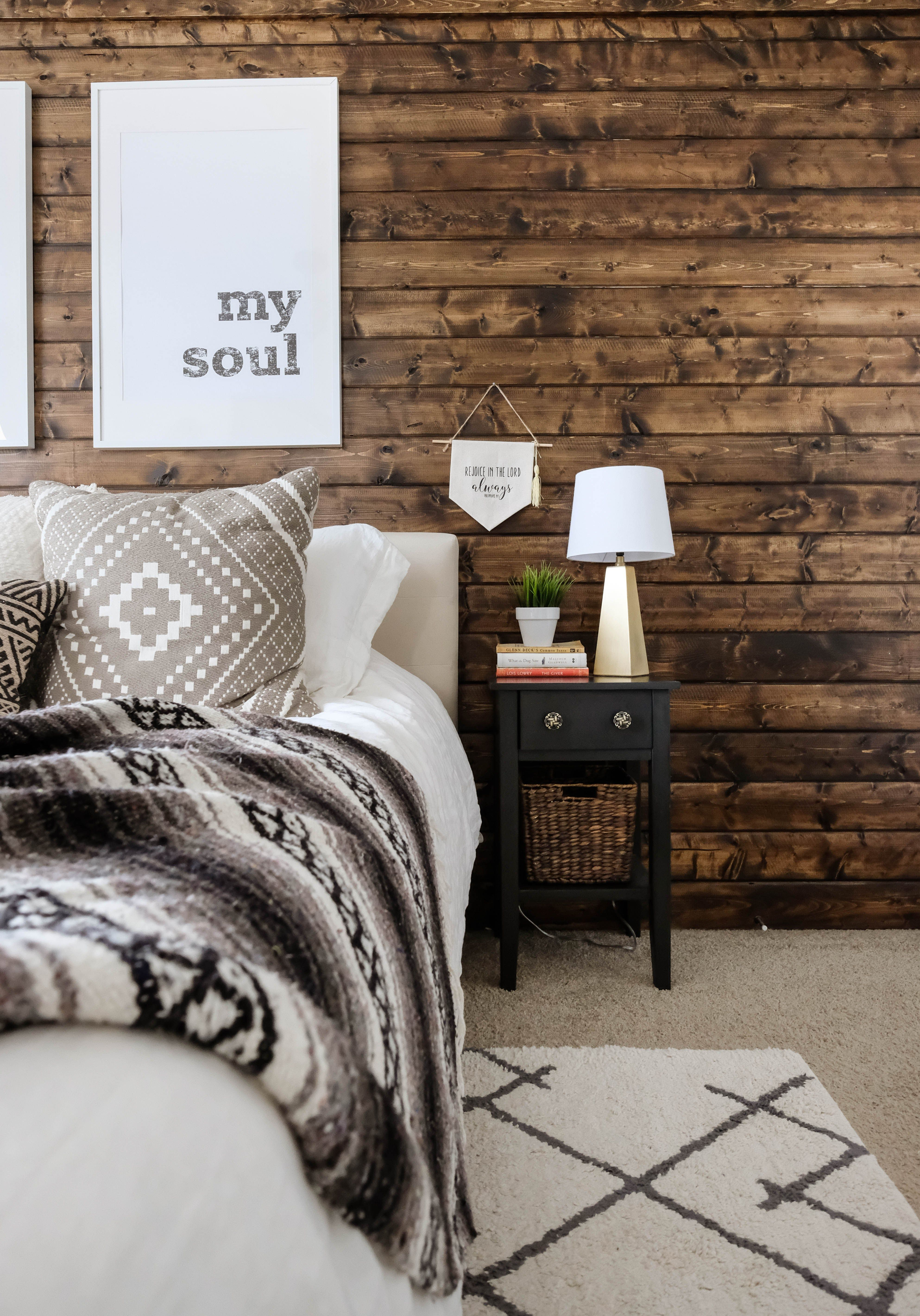 Why Your Home Needs A Wood Plank Accent Wall How To Diy One On A Budget This Tutorial Will Wood Walls Bedroom Modern Rustic Bedrooms Farmhouse Bedroom Decor