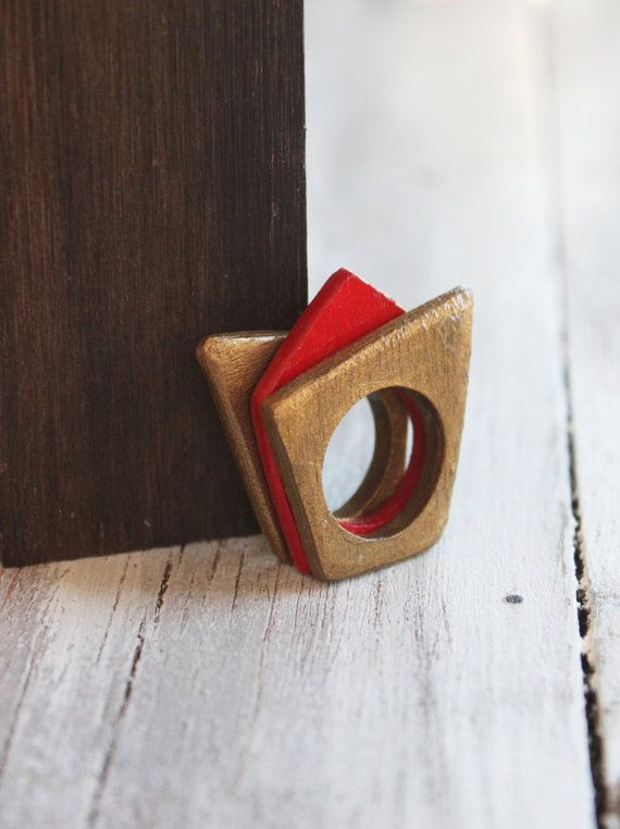 Stacking rings wooden set rings red ring gold ring geometric