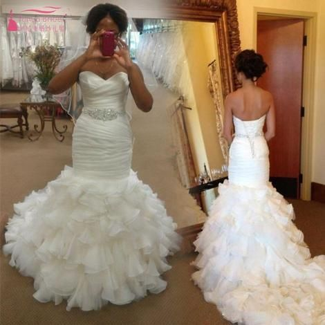 Mermaid Wedding Dresses 2019 Ruffles Sexy Africa Vintage Backless Wedding  Bridal Dress Gown vestido de noiva b5328657451c