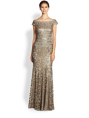 Tadashi Shoji Sequined Lace Gown smoked pearl same as first dress I ...