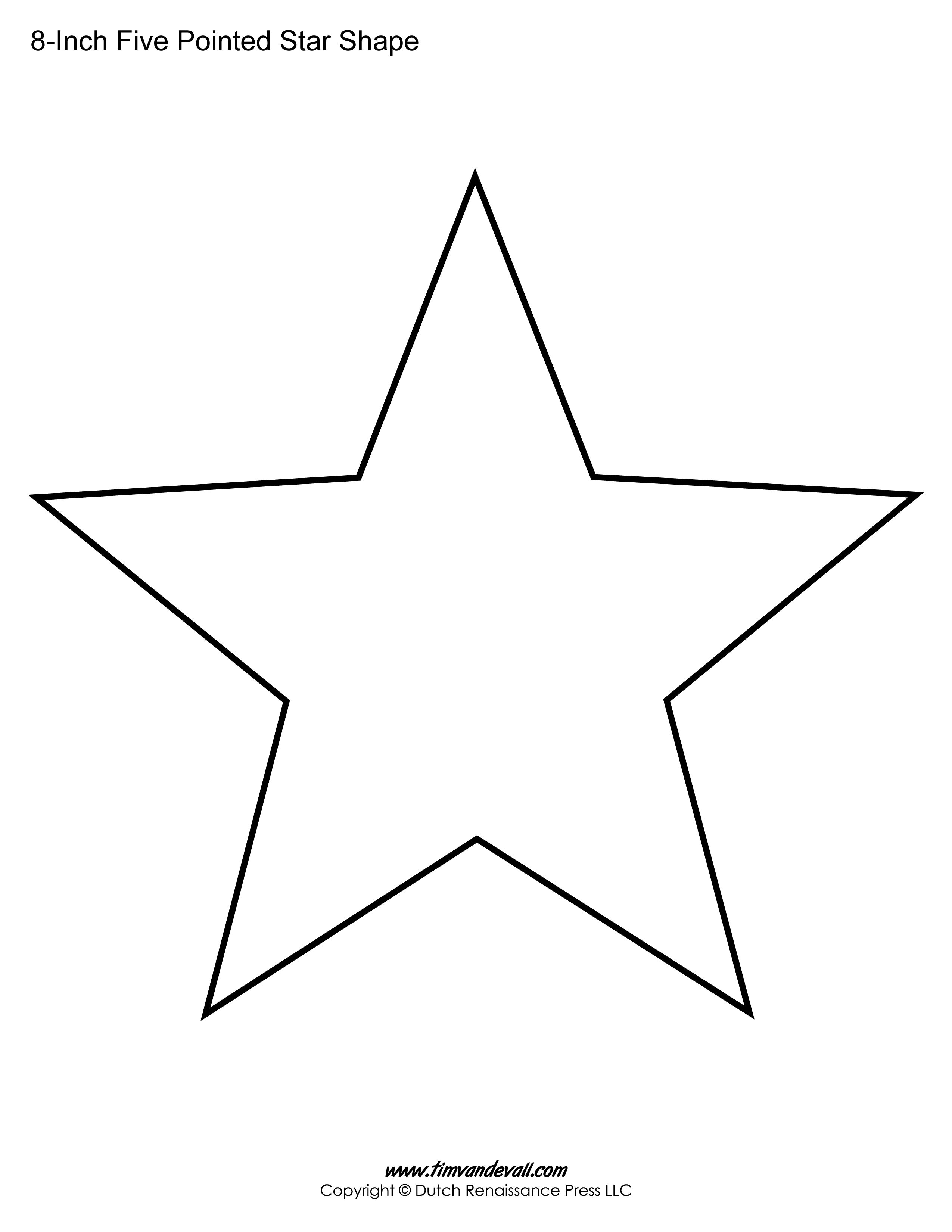 Five Sided Star Shape Star Template Five Pointed Star