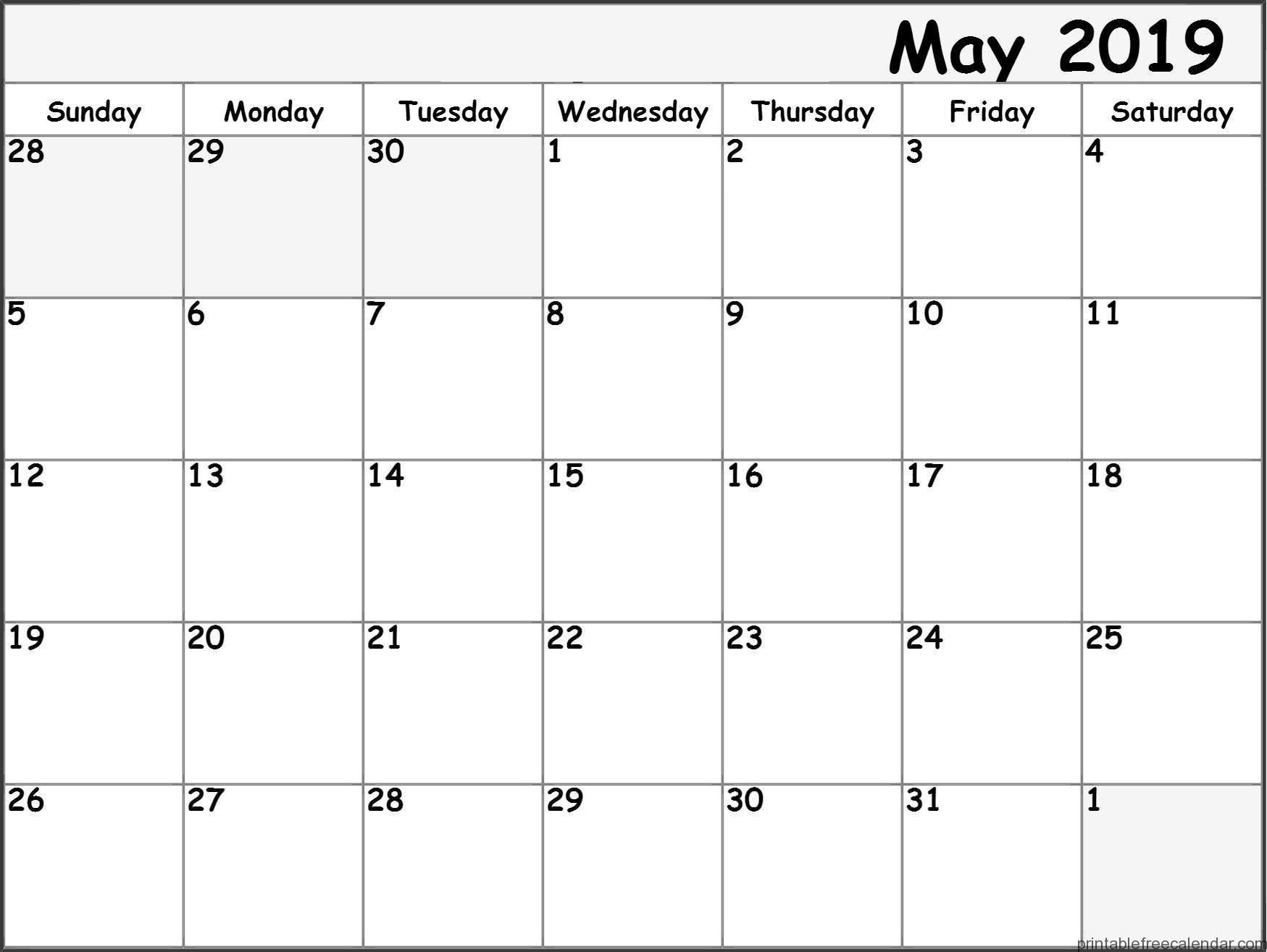Printable May 2019 Calendar Pdf Word Excel Template Calendar