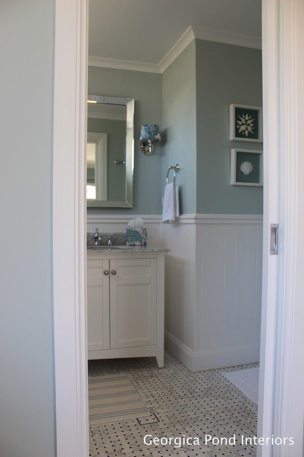 Georgica pond interiors vanity bathroom marble mirrors
