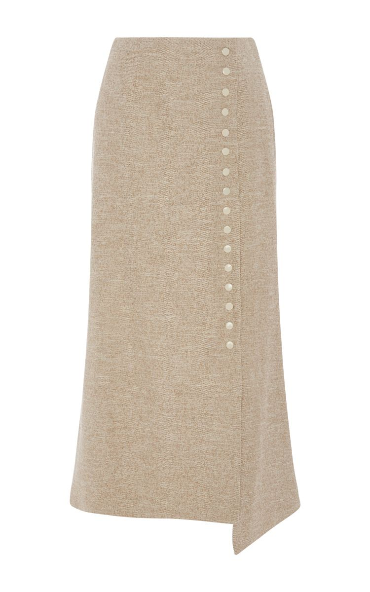 Blended Linen Wrap Snap Midi Skirt by ROSIE ASSOULIN Now Available on Moda Operandi