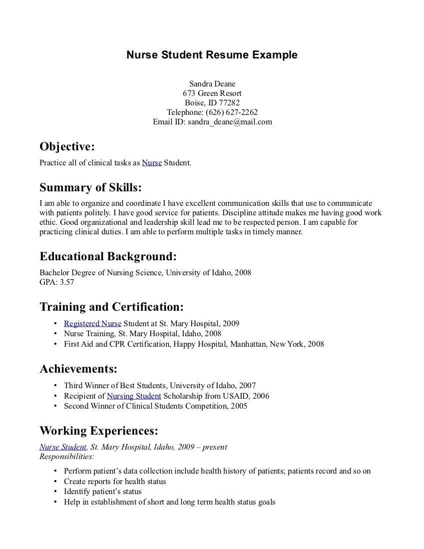 Nursing Graduates Resume Templates Pinterest Sample Resume