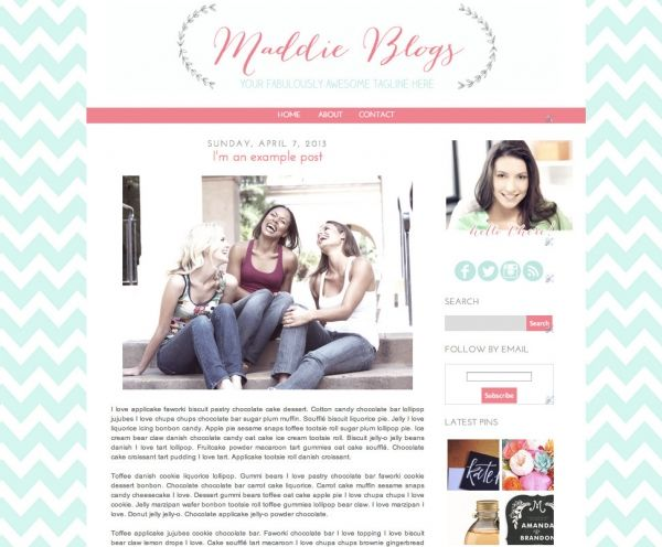 Maddie Blogger Template - Luvly Marketplace | Premium Design Resources #blogger #templates