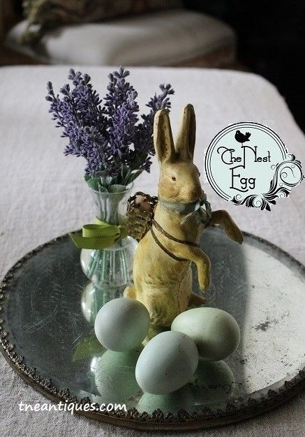 Antique rabbit candy container with lavender and eggs