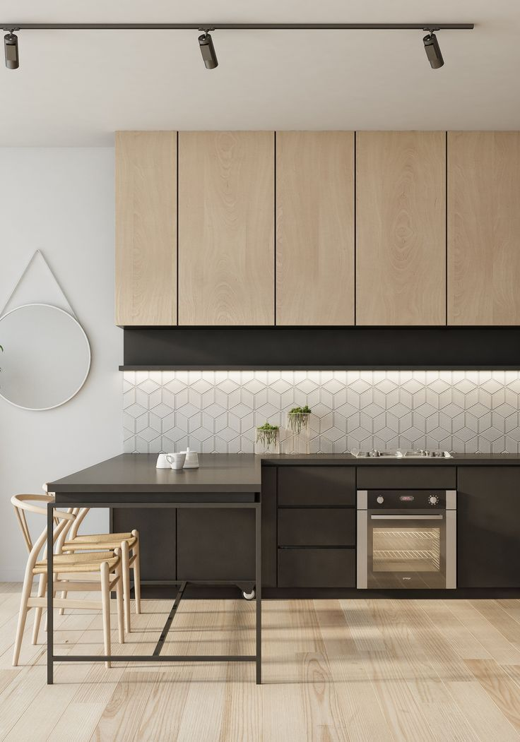 Wood And Matte Black Kitchen I Love The Geometric Tiles Of The Backsplash Kitchen Backsplash Designs House Design Kitchen Small House Kitchen Design