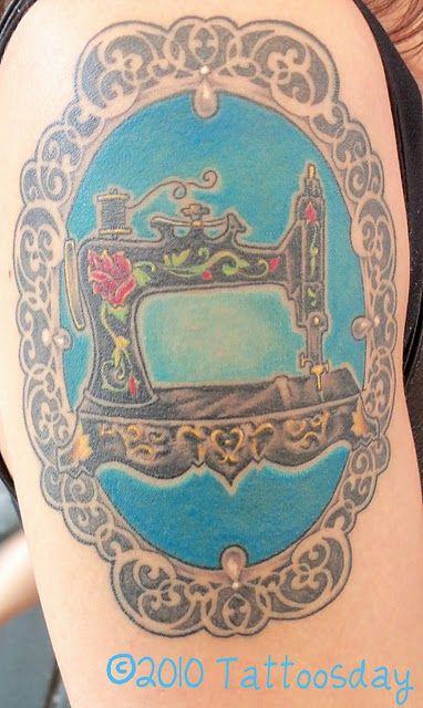 Sewing Machine Cameo Tattoo