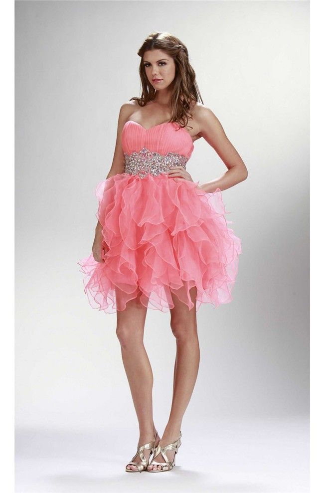 Cute Ball Strapless Short Watermelon Organza Ruffle