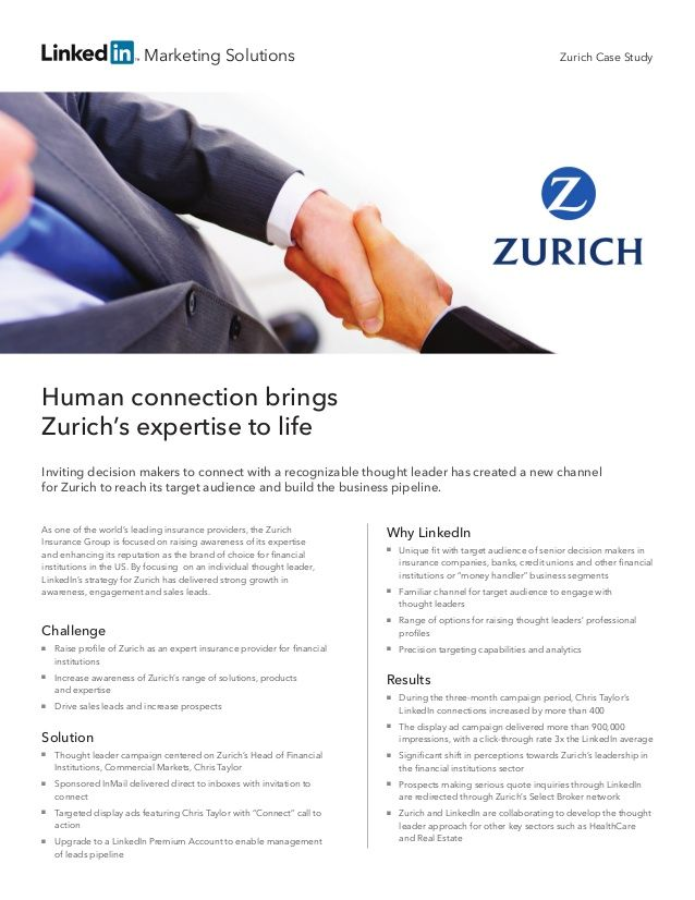 Zurich Insurance Group Case Study Targetting Linkedin Users Linkedin Marketing Linkedin Tips Human Connection