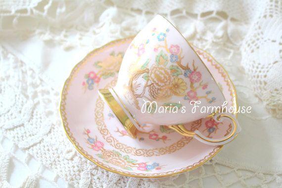 Antique English Fine Bone China Footed Tea Cup by MariasFarmhouse
