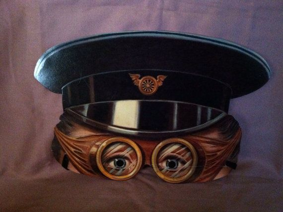 Lifelike paper halfmask of early aviator by ScarlettsFancies, $12.00