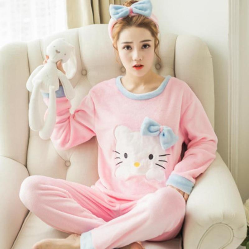 2 PIECE Pink Pajama Set Nightwear Pijama Home Suit women Winter Warm Pyjama  cat long sleeve Winter Flannel lingerie. Yesterday s price  US  7.46 (6.66  EUR). ad18c0176