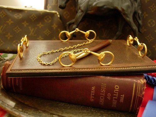Rare Vintage Gucci Br Leather Desk Note Pad Accessory Equestrian Horsebit Gg Ebay