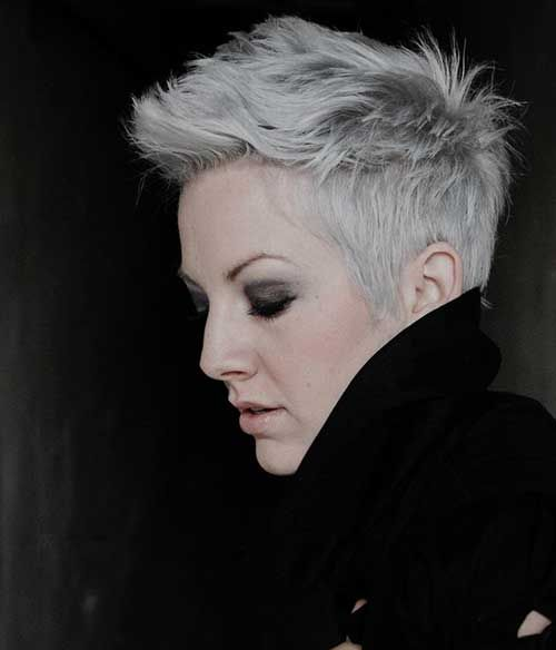 Silver Hairstyle Color Spikey Pixie Grey P