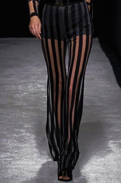 0ed3d0ee93cc Black White Striped Long Trouser with Underwear Lady Elastic Waist Mesh  Party Flare Pants