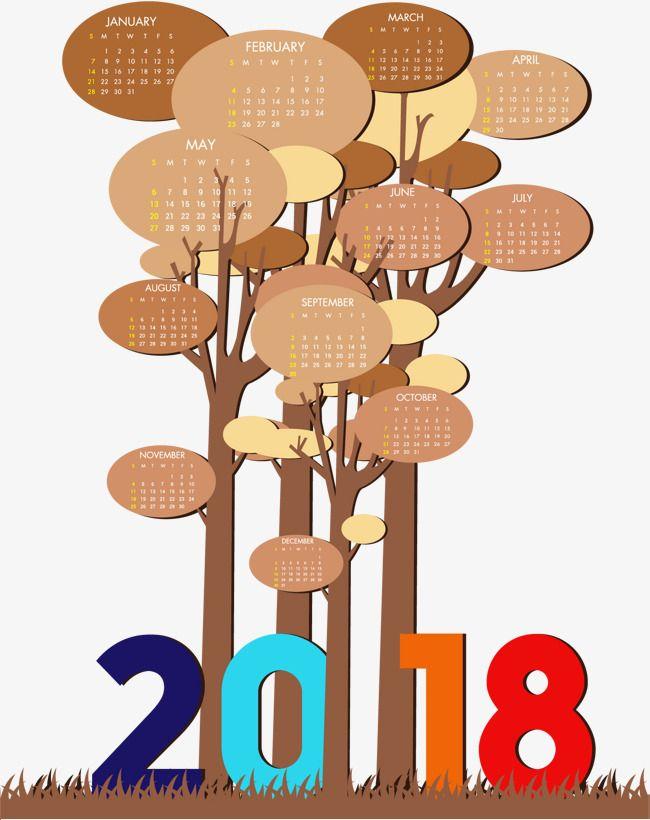 Bosque creativo calendario plantilla 2018, Vector De Material ...