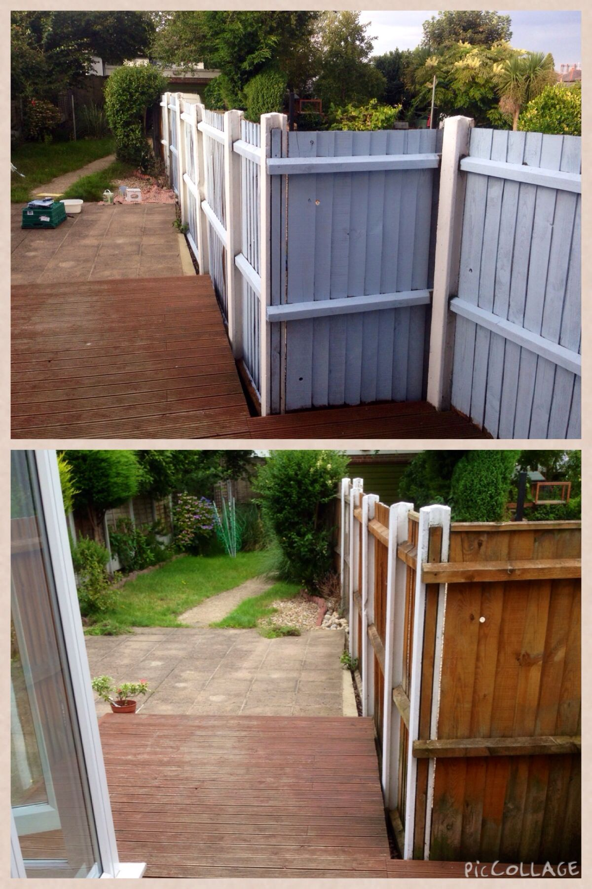 The fence, before and after. Painted in Cuprinol Shades
