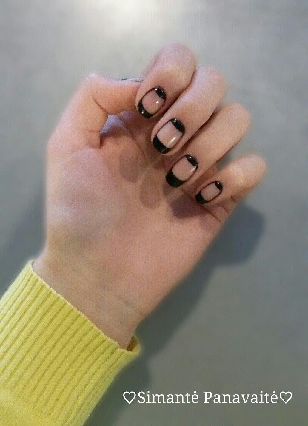 Black Acrylic Paint With Clear Nail Polish Cute And Easy By Simantė Panavaitė Clear Nails Clear Nail Polish Nail Designs
