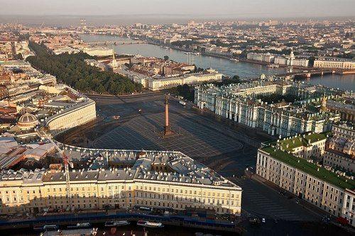 Place du Palais de l'Ermitage, de l'Etat Major, colonne Alexandre - Saint Pétersbourg,