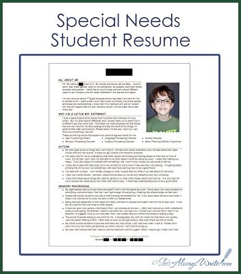 Special needs resume - genius Thank you Special Needs Resources