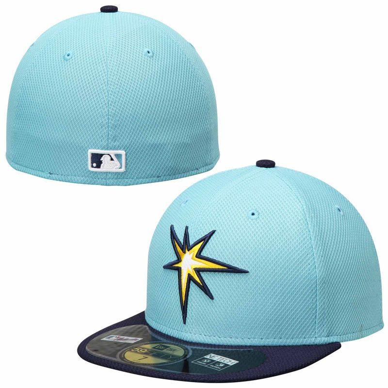brand new 51704 9a3bf Tampa Bay Rays New Era On Field Diamond Era 59FIFTY Fitted Hat - Light Blue