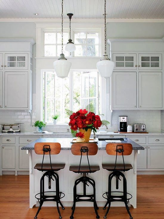 I have noticed a trend in the kitchen photos I've pinned. My board  is overwhelmingly white! White cabinets, white back splashes, touches of...