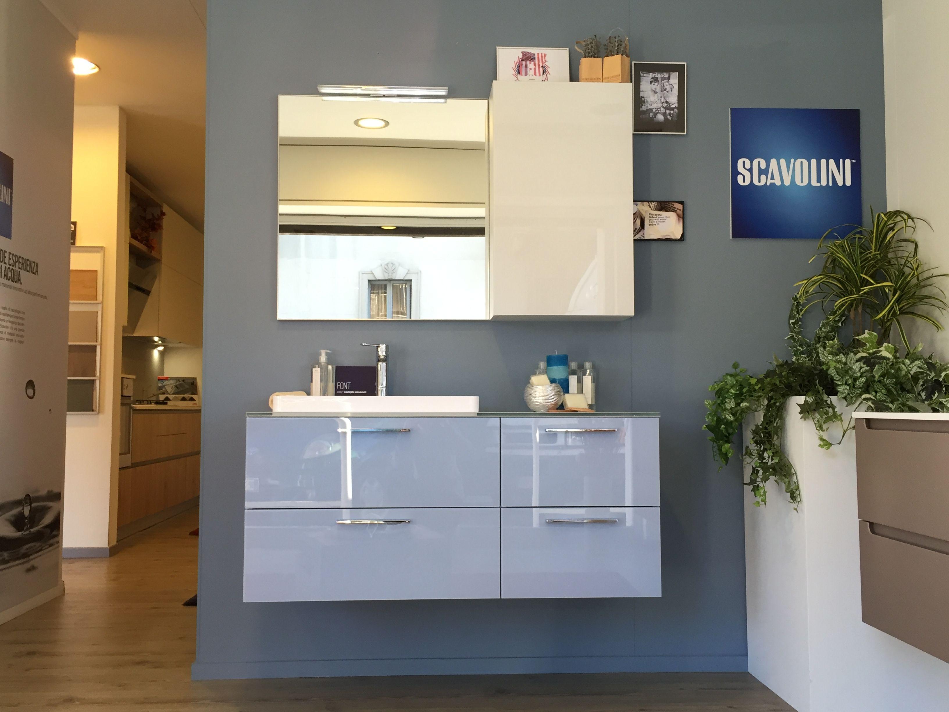 bagno #scavolini modello #font : anta vetro lucido colore azzurro ... - Mobili Bagno Scavolini
