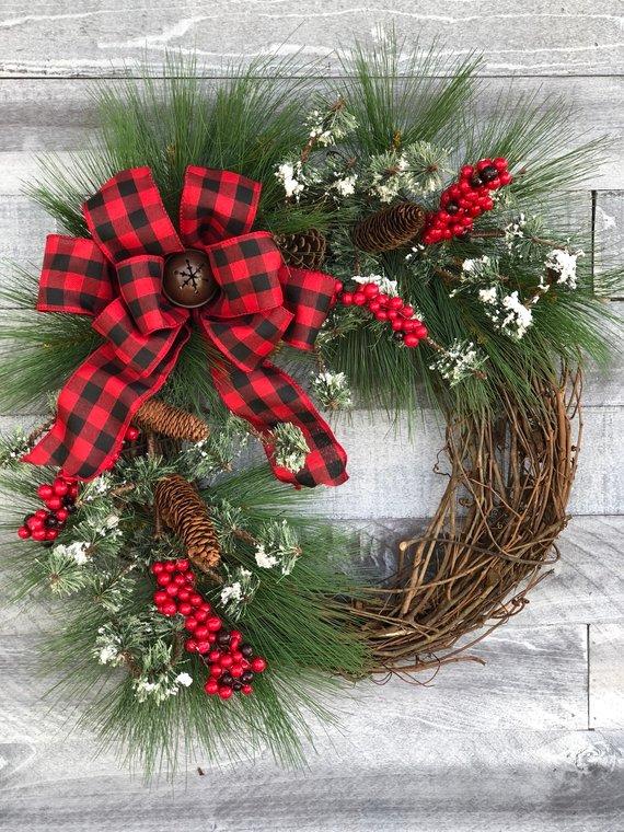 Farmhouse Christmas wreath Buffalo Plaid Holiday door decor Rustic vine wreath Christmas wreaths for front door Christmas wreaths