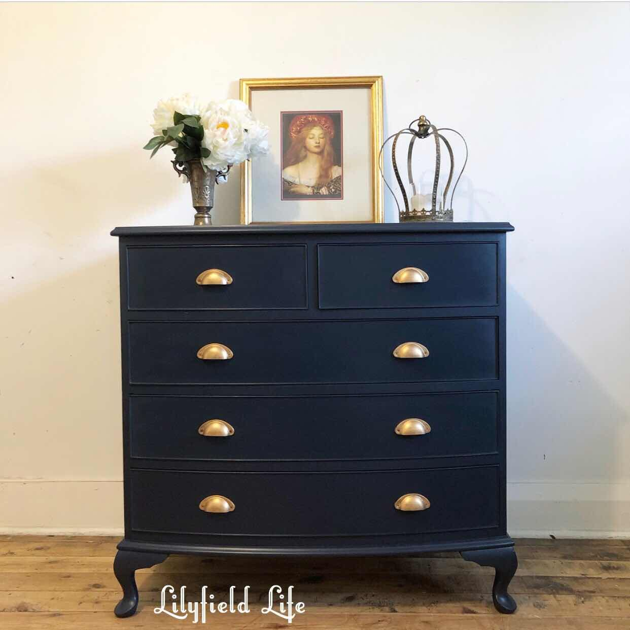 Beautiful Navy Fusion Mineral Paint Midnight Blue Drawers Blue Painted Furniture Navy Painted Furniture Blue Furniture