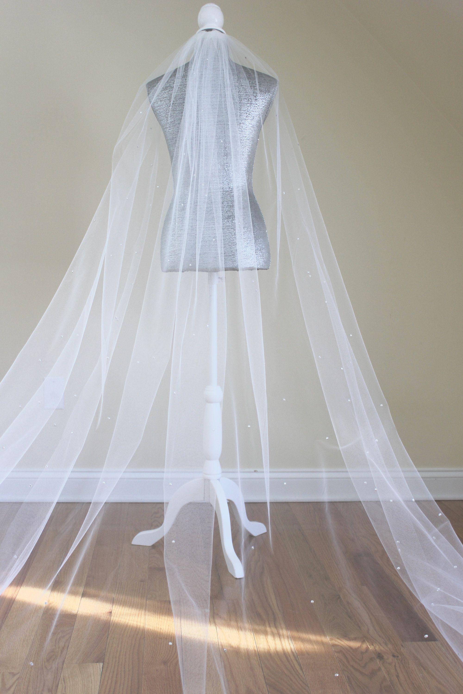 Wedding Veil with Swarovski Crystals One Tier Veil